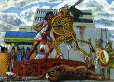 """Tlahuicol defends himself in gladiatorial combat before the Great Temple"", Adam Hook Ancient Aztecs, Ancient Civilizations, Aztecas Art, Aztec Empire, Aztec Culture, Aztec Warrior, Inka, Age Of Empires, Conquistador"