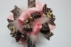 Pink and Brown Over the Top Hair Bow