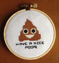 It's everyone's favorite emoji! This cute and funny cross stitch pattern makes a perfect housewarming gift or cheeky decor for your bathroom. The small pattern is great for beginners, it utilizes just two stitches: the basic cross stitch and the backstitch.Dimensions:31w x 33h stitchesFits in a...