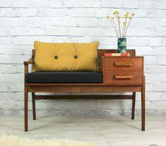 Vintage teak telephone seat - vintage mustard das Casas See Retro Furniture, Cool Furniture, Furniture Design, Rustic Furniture, Furniture Ideas, Furniture Chairs, Furniture Stores, Outdoor Furniture, Furniture Upholstery