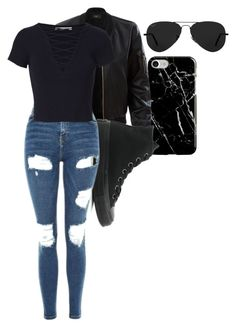 """""""Untitled #441"""" by kelsey-anne-davis on Polyvore featuring Recover, LE3NO, Converse, Topshop, T By Alexander Wang and Ray-Ban"""