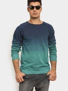 abof Men Blue & Sea Green Ombre Dyed Regular Fit Sweatshirt Ocr B, All About Fashion, Sea, Sweatshirts, Long Sleeve, Fitness, Green, Sleeves, Mens Tops