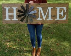 Home windmill sign. Home decor. Rustic windmill sign.