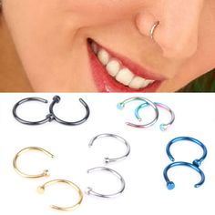 2pcs Hot Stainless Steel Nose Open Hoop Ring Earring Body Piercing Studs Jewelry #Unbranded