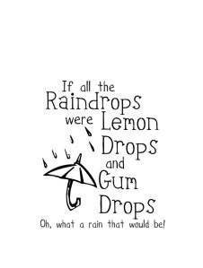 If all the raindrops were lemon drops and gumdrops Oh what a Purim that would be...