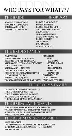 Wedding checklist who pays for what; good to know! wedding planning wedding checklist wedding checklist things not to forget at your wedding wedding day checklist printable Wedding Gifts For Groom, Wedding Wishes, Wedding Bride, Wedding Dresses, Rustic Wedding Groomsmen, Wedding Goals, Wedding Tips, Wedding Who Pays, Wedding Stuff
