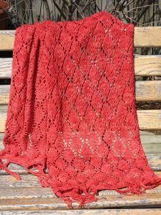 Falling Leaves Wrap - rectangular - free knitting pattern by everythingshunkydory