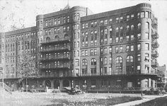 One of Theodore's first projects– the Hyde Park Hotel at 21st and Lake in Chicago. The hotel became the standard to which all hotels would want to reach at that time. Theodore was a pioneer.