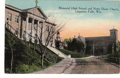 Memorial High School and Notre Dame Church in Chippewa Falls, WI (vintage postcard)