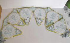 New Baby Boy Bunting gift  All die cuts made using Silhouette Cameo  DP's (blue) from American Crafts digi kit on Serif Craft Artist