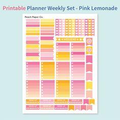 Pink Lemonade Weekly Sticker Set / Printable Stickers / Planner Sticker Kit / Erin Condren / Weekly Planner Stickers / Pastel Stickers