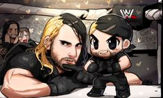 Sethie's first wrestling match! By Tapla. See Roman & Dean in the audience? Roman Reigns Gif, Ecw Wrestling, The Shield Wwe, Nia Jax, Seth Rollins, Wwe Superstars, Roman Empire, Greys Anatomy, Caricature