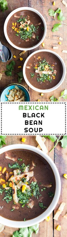 A dirt cheap, quick and easy healthy Mexican Black Bean Soup that tastes like heaven plus instructions on how to cook dried black beans!