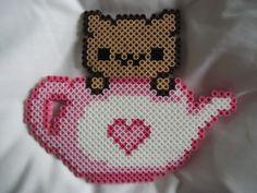 Tea Pot Kitty perler bead by *TsukiHimeChii on deviantART