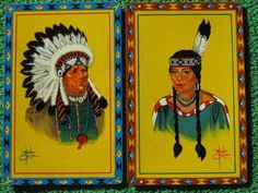 Indian Chief & Maiden Native Americans Playing Cards Beautiful Colors Vintage A+