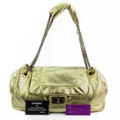CHANEL Accordian Flap Gold Color Perforated With Silver Hardware Good Condition Ref.code-(COKS-1) More Information Pls Email  (- luxuryvintagekl@ gmail.com )