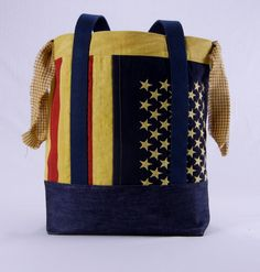 Americana Flag Tote Bag, Flag, Patriotic, Americana, Rustic, Large, Handmade, Unique, Stars, Large, Sturdy, Primitive, Denim, by TotellyUnique on Etsy