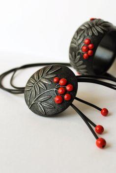 Necklace polymer clay Rowan,polymer clay jewelry, jewelry, polymer cla