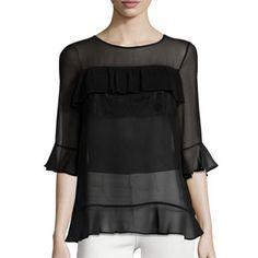 BCBGMAXAZRIA Lace-Trim Chiffon Top - black chiffon top, black ruffle top, black…