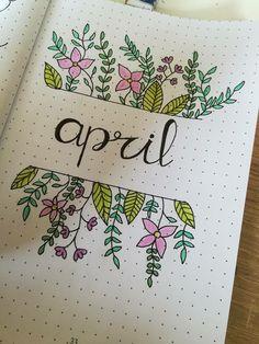 Monthly log of April Bullet Journal Month, Bullet Journal School, Bullet Journal Notebook, Bullet Journal Ideas Pages, Bullet Journal Layout, Bullet Journal Inspiration, Kalender Design, Doodles, Journal Covers