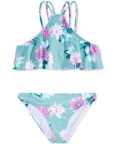 O'Neill Girls' Riviera Ruffle High Neck Halter Bathing Suit