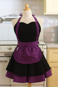 This is a very cute full apron with a sweetheart neckline. This apron has a double circle skirt for volume with ruffles on the bodice and around the mini apron. The Apron is fully adjustable with two straps that go around the neck [29.5 inches each] and two straps for the waist [32.5 inches