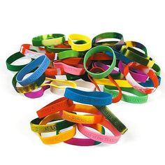 Religious Sayings Bracelet Mega Assortment. This huge assortment of bracelets is a rainbow of inspirational words! Ideal for church events and Sunday School! per unit) Assortment may vary. Fun Express, Church Events, Rubber Bracelets, Operation Christmas, Trunk Or Treat, Vacation Bible School, Religious Jewelry, Oriental Trading, Religious Sayings