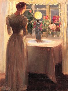 Anna Ancher, Young Woman in Front of a Lighted Lamp, 1887