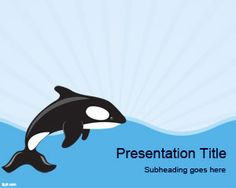 Free Sea Whale PowerPoint Template with nice blue background and sea whale illustration