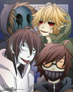 Eyeless Jack, Jeff the Killer, Ben Drowned, Ticci Toby, akanbe, sticking, tongue; Creepypasta