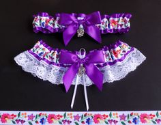 Dia de los Muertos Garter Set 12 COLORS by PikesPeakCreations