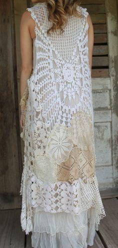 Oneofakind Long Vintage Crocheted Vest by AmandaCarolsVintage, $275.00