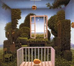 Art Surrealism - Jacek Yerka - Twilight In The Nursery Magic Realism, Realism Art, Surrealism Painting, Hyperrealism, Art Academy, Art Database, Triptych, Surreal Art, Wall Wallpaper