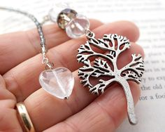 Tree of Life Bookmark Neutral Gray Beaded Bookmark Clear Heart Charm Swarovski Crystal Lampwork Glass Gift for her #Etsy #Share #AyuJewelryShare #EtsyShop #MSMTeam