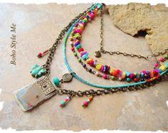 Bohemian Beaded Necklace Multiple Strands Blue Bird Jewelry