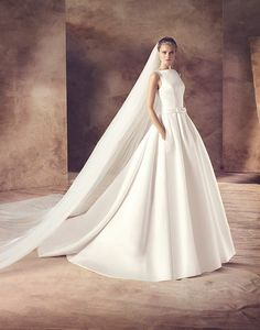 Introducing our Avenue Diagonal 2016 Collection by Pronovias. Exclusive designer wedding dresses for all our trendy/chic brides. Lace Wedding Dress, Designer Wedding Dresses, One Shoulder Wedding Dress, Wedding Gowns, Chapel Train, Wedding Album, Bridal, Here Comes The Bride, Dream Dress
