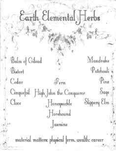 Earth Herb Correspondence