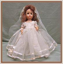 Tiny Terri Lee Hard Plastic Walker Doll Bride Dress