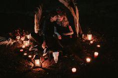 Black dress, ram skull, red roses, pampas arcade, black candles, dark flowers bouquet, emotional elopement Ram Skull, Dark Flowers, Black Candles, Elopement Inspiration, Arcade, Red Roses, Bouquet, Dress, Style