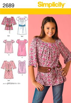 Simplicity Patterns S2689 | Girls or Girls Plus Dress, Tunic and Belt