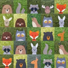 Woodland Critters quilt with added free moose block Más Free Moose Applique Pattern - Shiny Happy World Make a woodland critters quilt using fast and easy appliqué and Quilt As You Go techniques. quilt designs for grandchildren Everything You Need to Kn Quilt Baby, Baby Quilt Patterns, Boy Quilts, Block Patterns, Baby Quilts Easy, Tree Quilt Pattern, Free Applique Patterns, Applique Ideas, Applique Templates