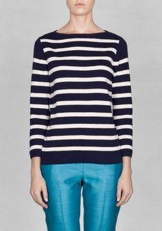 &Other Stories   A knitted cotton sweater with broad, nautical-looking stripes. Boat neck Subtle V- shaped knitting detail in the front Cropped sleeves £39
