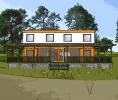 Shipping container home plans 4 bed 4 bath - schematic design 3200 sf Shipping Container Homes Cost, Cargo Container Homes, Building A Container Home, Container House Design, Shipping Containers, Container Houses, Sea Containers, Shipping Container Conversions, Shipping Container Buildings