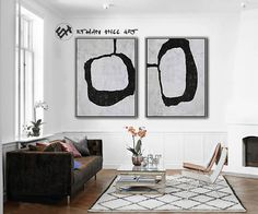 Large Abstract Art Canvas Painting, Black and White Painting Set of 2, Minimalist Painting - Ethan H