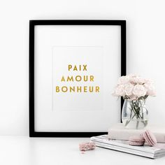 SALE - Paix, Amour, Bonheur - Peace, Love, Happiness - Real Gold Foil Print, A4…
