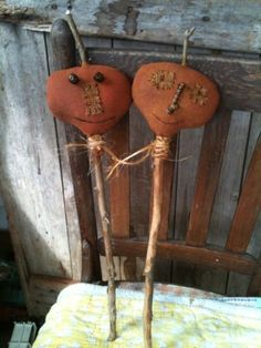 Extreme Prim Fall Grungy Pumpkin Primitive Folk Art Pokes For Barrels Crocks Two