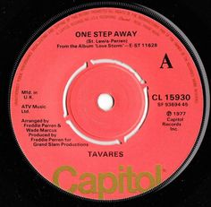 "TAVARES One Step Away 1977 UK CAPITOL RECORDS 7"" VINYL SINGLE CL 15930"