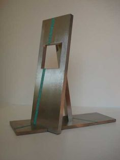 Stain less Steel and Gold Fabricated Metal Abstract #artwork by #sculptor Abu Jafar titled: 'HOPE (stainless Steel Rectangular contemporary sculpture)'. #art #artist #sculpture #AbuJafar