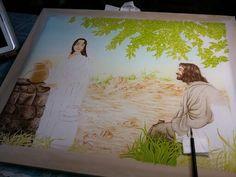 지금 그리고 있는 작품...예수님과 사마리아여인20호