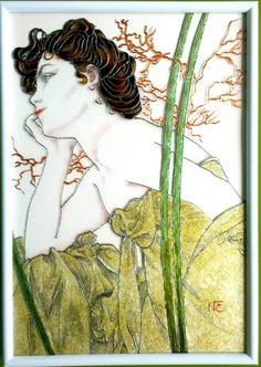 """Tableau peinture sur verre """"EVENING"""" (détail d'après Alfons Mucha) : Peintures par mamycole"""